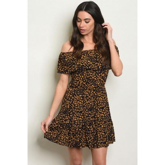 """Dresses & Skirts - 👗 ARRIVED👗 """"Back to life"""" Mustard leopard dress"""